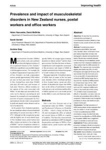 prevalence and impact of musculoskeletal disorders in new zealand nurses  postal workers and office workers