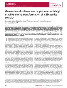 nmat4757-Generation of subnanometric platinum with high stability during transformation of a 2D zeolite into 3D