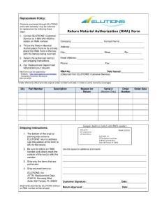 Return Material Authorization (RMA) Form