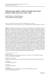 inducing socio-cognitive conflict in finnish and german groups of online learners by cscl script