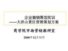 (课件)-企业营销策划实训大洪山景区营销策划方案