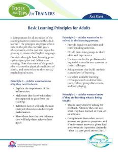 Basic Learning Principles for Adults