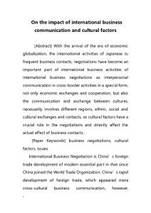 On the impact of international business communication and cultural factors(在国际商务沟通和文化因素的影响)