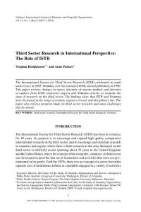 Third Sector Research in International Perspective: The Role of ISTR