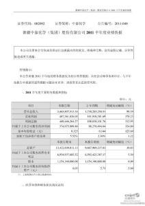 中泰化学:2019半年度业绩..