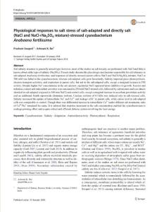 physiological responses to salt stress of salt-adapted and directly salt (nacl and nacl na2so4 mixture)-stressed cyanobacterium anabaena fertilissi