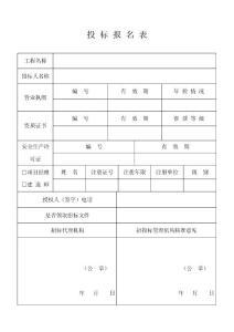 投 标 报 名 表(最新)