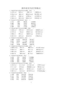 初中语文字音字形练习题(选择题-含答案)
