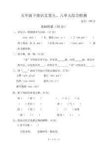 最新人教版五年级下册语文第五、六单元综合检测试卷