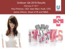 联合利华2010年年度报告总结演示文档;Unilever 2010 Annual Report Presentation