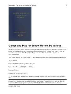 Games and play for school morale