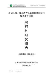 中国供销•滨州农产品电商物流园项目可研报告