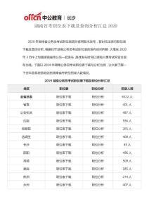 湖南省考職位表下載及查詢分析匯總2020
