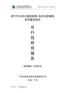 南宁市玉洞大道综银海-良庆合管廊部可研报告