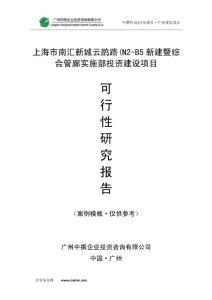 上海市南汇新城云鹃路(N2-B5新建暨综合管廊实施部可研报告