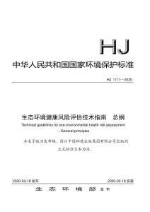 生态环境健康风险评估技术指南 总纲(HJ 1111—2020)