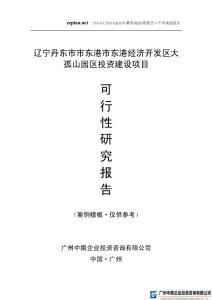 广州中撰-辽宁丹东市市东港市东港经济开发区大孤山园区项目可研报告可行性报告