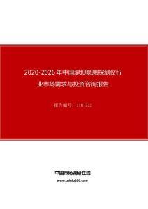 2020年中国堤坝隐患探测仪行业市场需求与投资咨询报告