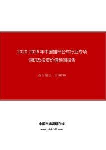 2020年中国锚杆台车行业专项调研及投资价值预测报告