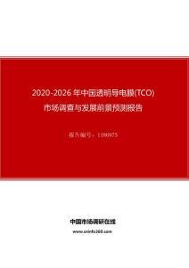 2020年中国透明导电膜(TCO 市场调查与发展前景预测报告