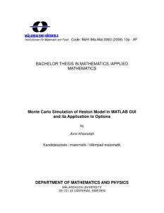 Monte Carlo Simulation of Heston Model in MATLAB GUI