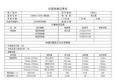 CIRRIS测试仪器校验记录表