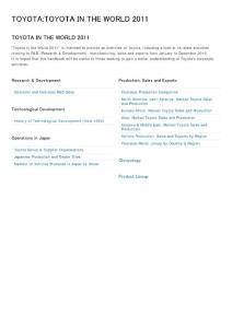 丰田公司2011全球运营状况回顾;Toyota World Overview 2011