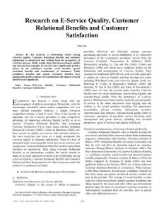 Research on EService Quality Customer Relational Benefits and Customer Satisfaction
