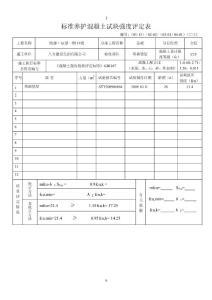 标准养护混凝土试块强度评定表