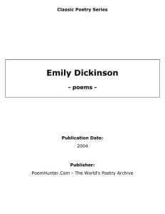 美国诗人Emily Dickinson 艾米莉迪克森诗集,文学导读及评论