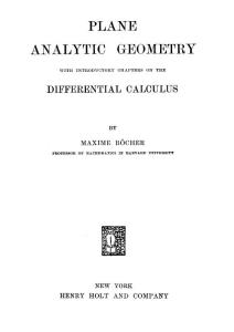 Harvard University - Bocher  Maxime - Plane analytic geometry with differential calculus