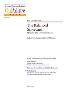 The Balanced Scorecard - Measures That Drive Performance (HBR)