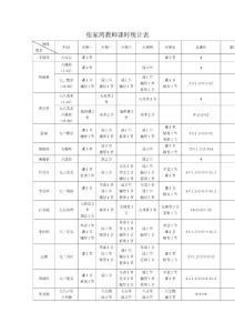 张家湾教师课时统计表