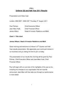 联合利华2011年第二季度盈利演讲;Unilever 2011 Q2 Results Speech