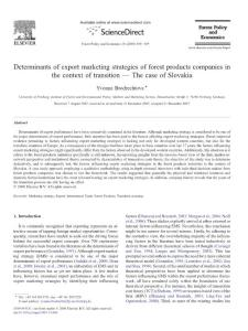 Determinants of export marketing strategies of forest products companies in the context of transition - The case of Slovakia