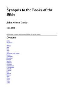 Synopsis To The Books Of The Bible - John Nelson Darby 1800-1882