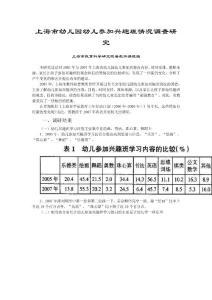 上海市幼儿园幼儿参加兴趣班情况调查研究