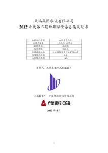 天瑞集團水泥有限公司2012 年度第二期短期融資券募集說明書