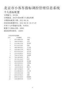 北京市小客车个人指标配置2012年第06期配置结果