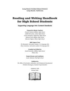 Reading & Writing Handbook for high school student