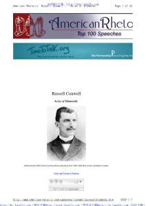 美国20世纪最伟大的100大演讲Russell H. Conwell - Acres of Diamonds