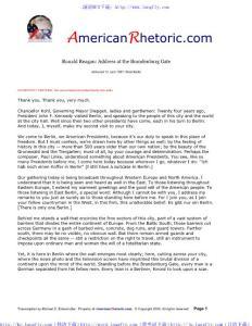 美国20世纪最伟大的100大演讲Ronald Reagan - Brandenburg Gate Address