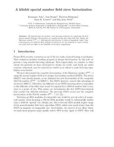 数域筛算法[Number Field Sieve]研究论文集锦