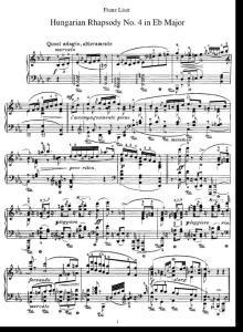 李斯特第4首匈牙利狂想曲 降E大调 第四首匈牙利狂想曲 19 Hungarian Rhapsodies  S244//R105 No.4 in E flat major liszt钢琴谱