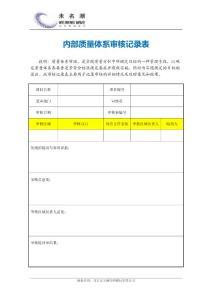 内部质量体系审核记录表