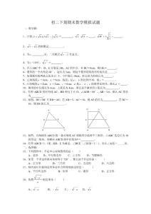 初二下期期末数学模拟试题