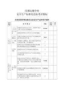 水路普通货物运输企业安全生产达标考评指标