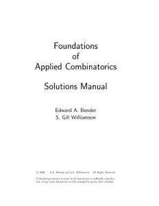 Foundations of Applied Combinatorics Solutions Manual