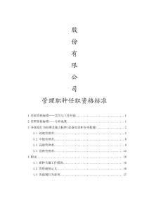 任职资格管理标准体系