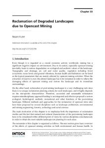 Reclamation of degraded landscapes due to opencast mining